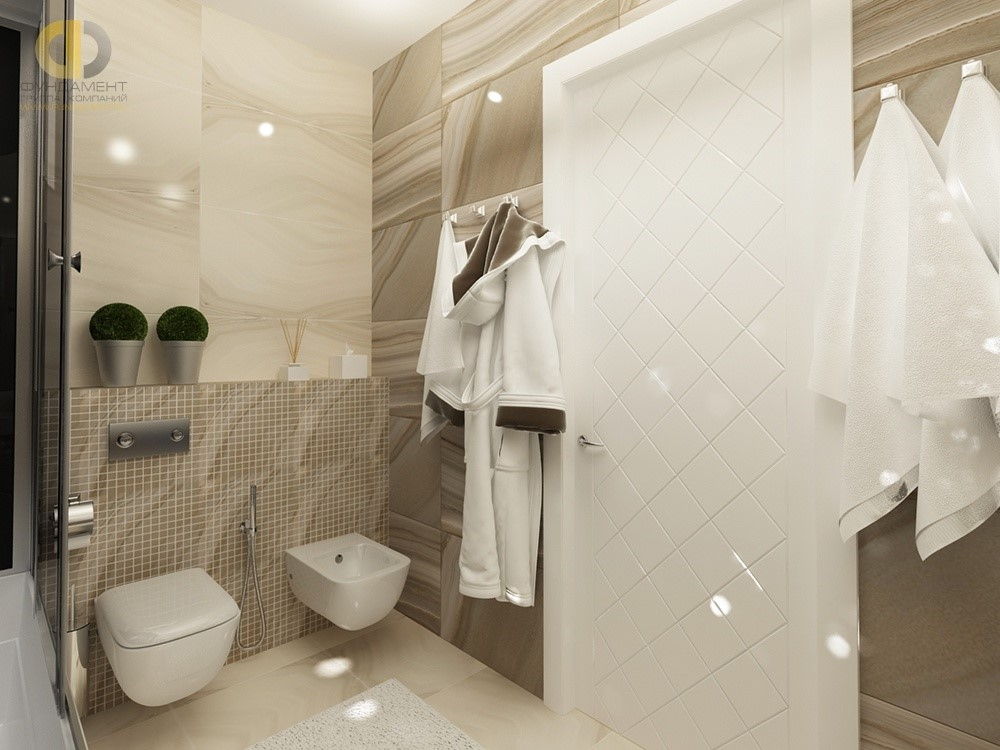 Интерьер ванной с влагостойкой межкомнатной дверью