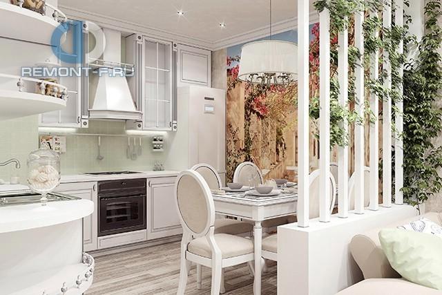 Дизайн белой прованской кухни с оригинальной ширмой и фреской
