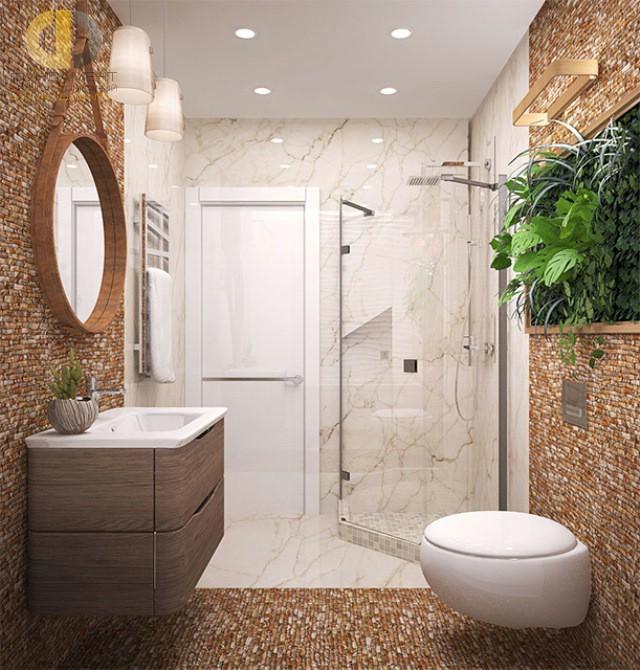 Современные идеи в дизайне ванной комнаты с угловой душевой кабиной. Фото 2016