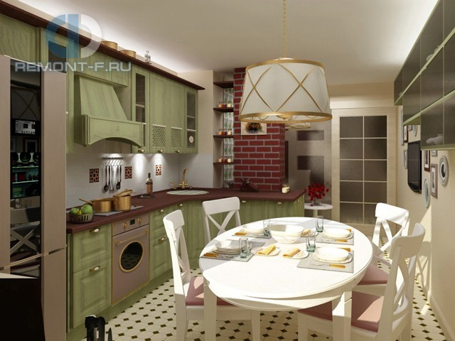 Оливковая кухня в стиле прованс на Кастанаевской