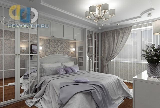 Дизайн неоклассической спальни в серых тонах с альковом