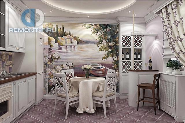 Белая прованская кухня с фреской