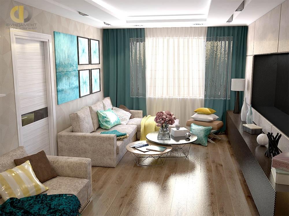 Интерьер гостиной в современном стиле в ЖК «Красная Горка»
