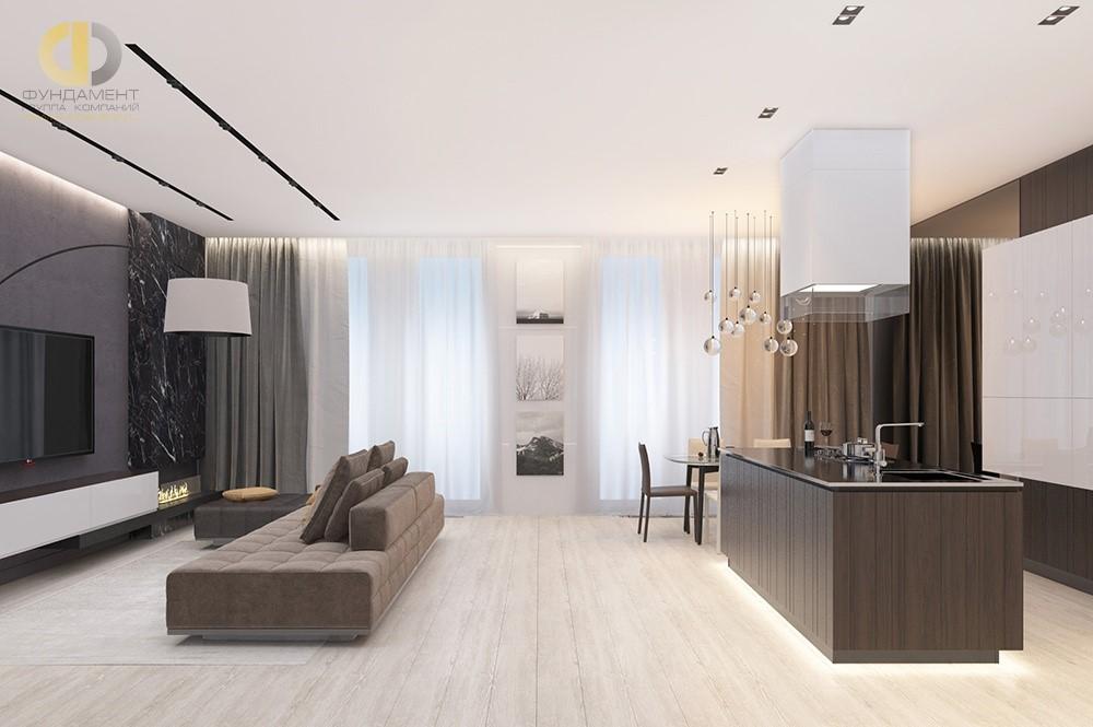 51b2b7611fef4 Кухня-гостиная в классическом стиле в квартире.