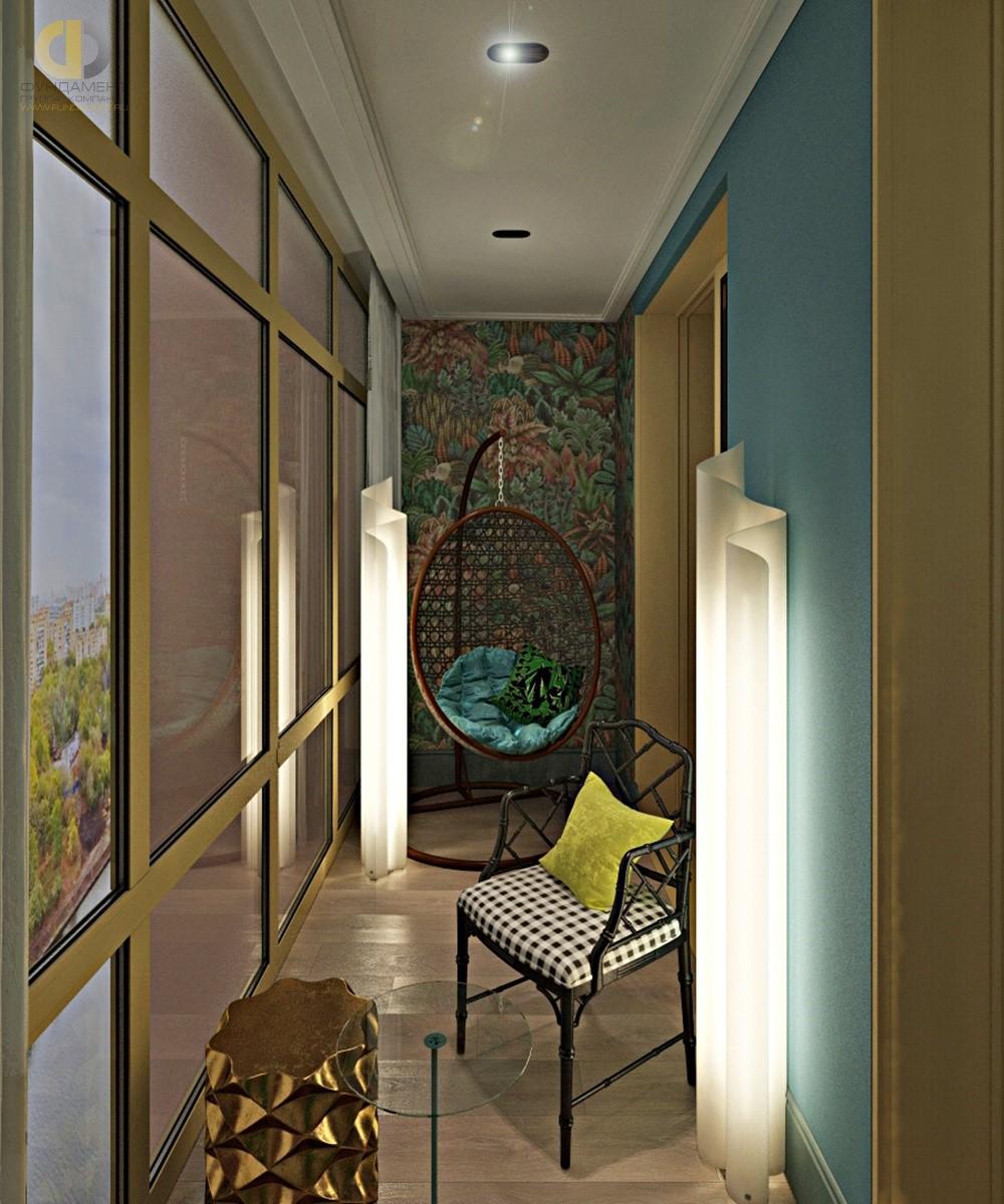 Интерьер балкона с бирюзовой стеной и фотопанно в ЖК «Маяк»