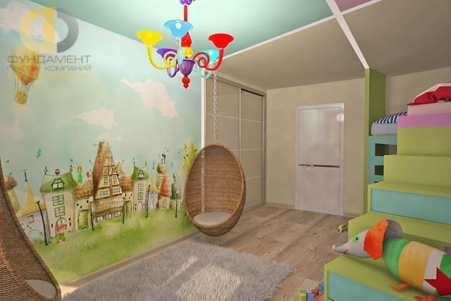 Дизайн детской комнаты для девочки. Фото интерьера с подвесным креслом