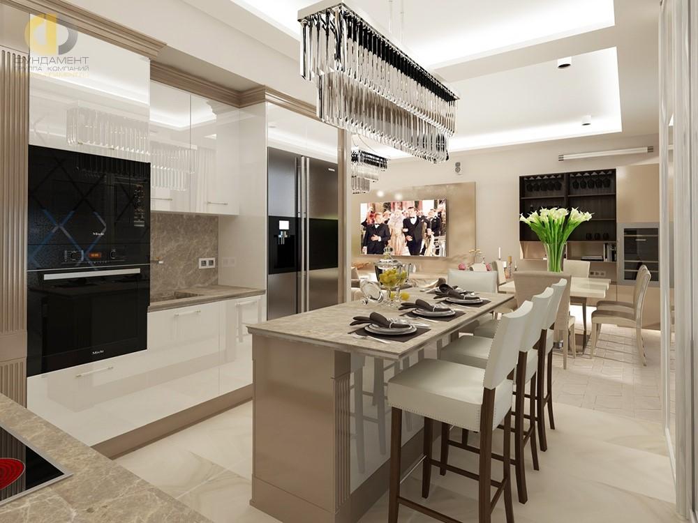 Интерьер кухни-столовой в стиле ар-деко. Лучшие проекты 2018