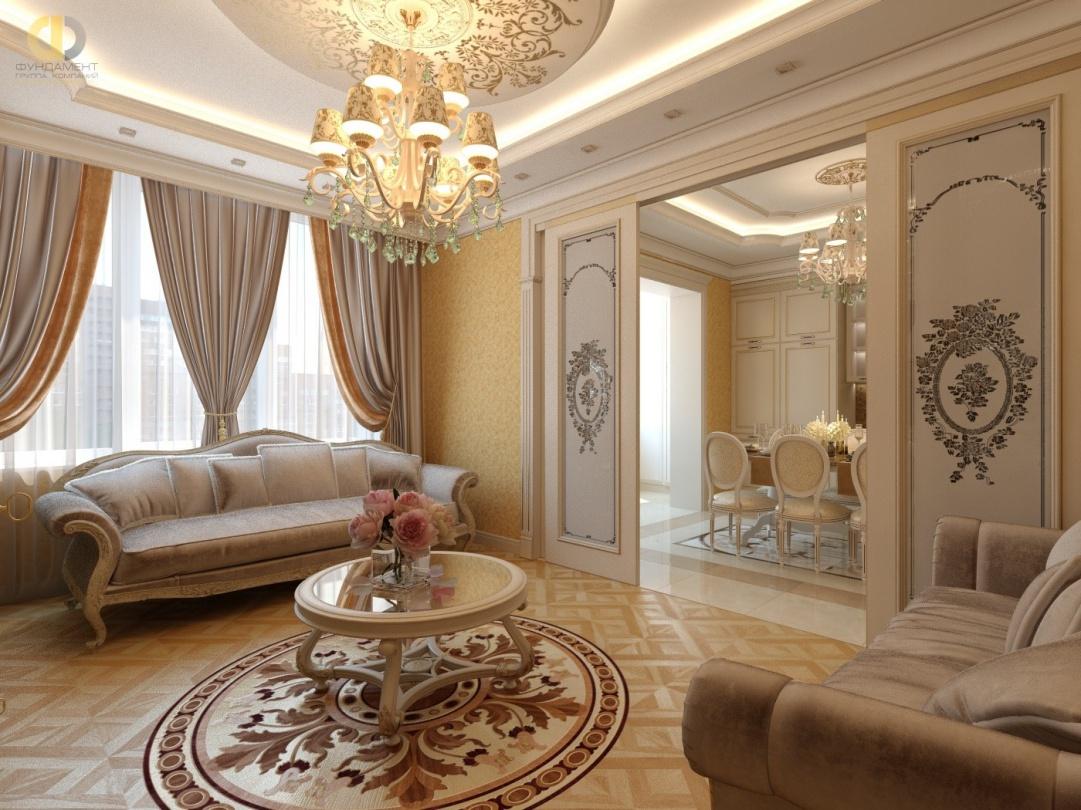 Дизайн интерьера гостиной с витражными дверьми