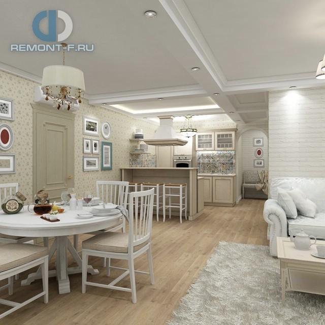 Дизайн белой кухни в стиле прованс, оклеенной обоями с цветочным рисунком