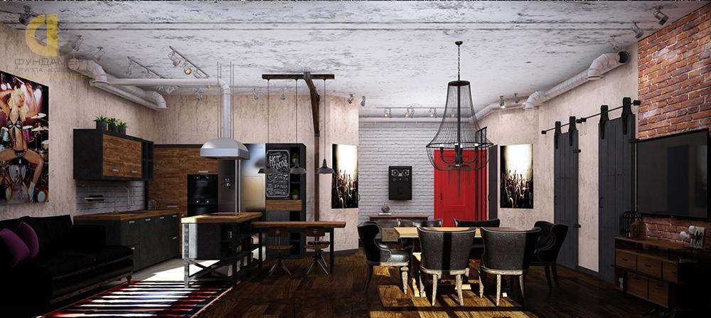 дизайн кухни в стиле лофт в квартире 40 фото интерьеров