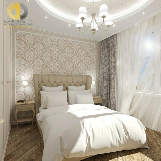 Дизайн спальни в песочных тонах в стиле современная классика