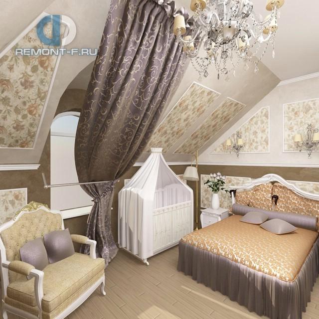 Дизайн классической спальни с детской кроваткой
