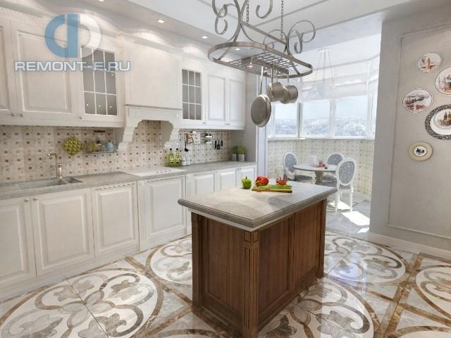 Кухонный остров в прованской кухне с подвесом для посуды