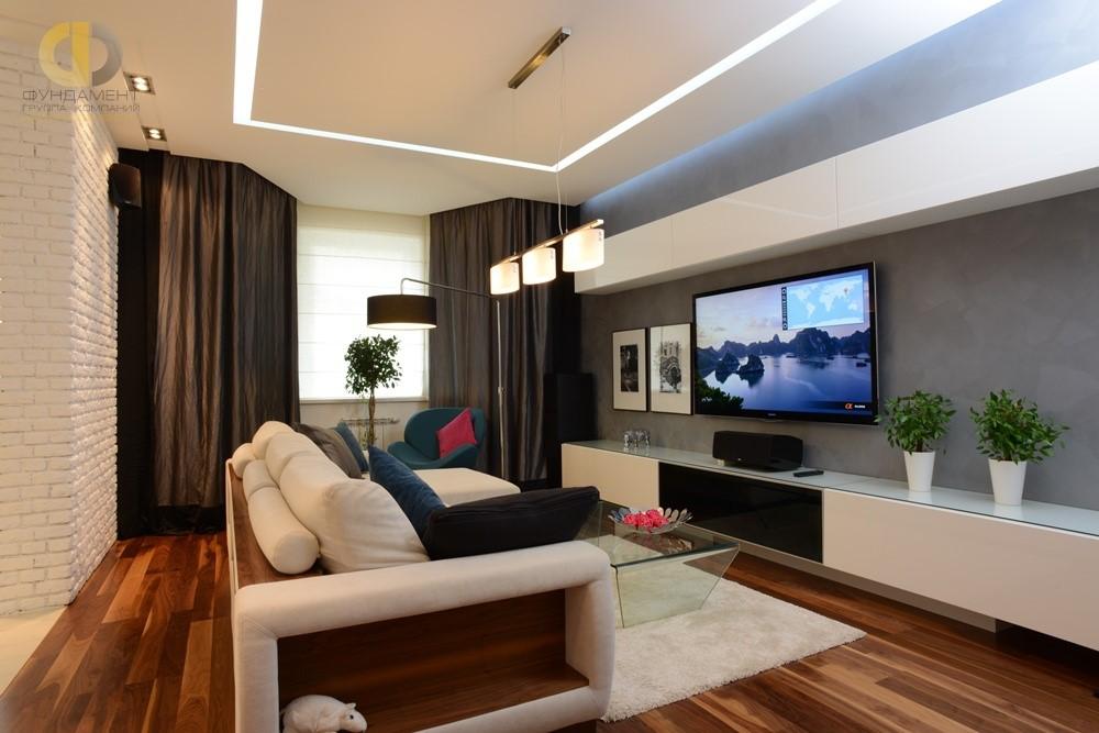 Дизайн деревянного пола в гостиной