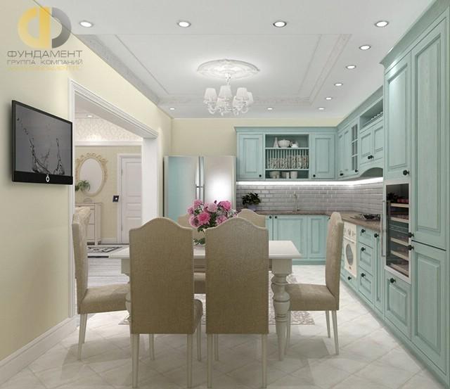 Интерьер просторной прованской кухни в ванильно-мятных тонах