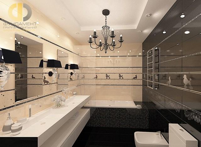 Отделка ванной комнаты плиткой: фото. Дизайн санузла в стиле арт-деко