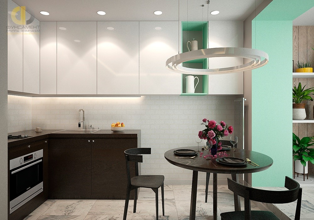 Бирюзовый цвет в интерьере кухни в квартире на Пятницкой