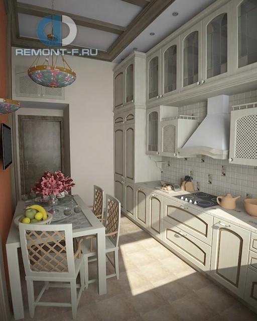 Интерьер прованской кухни с традиционной купольной вытяжкой