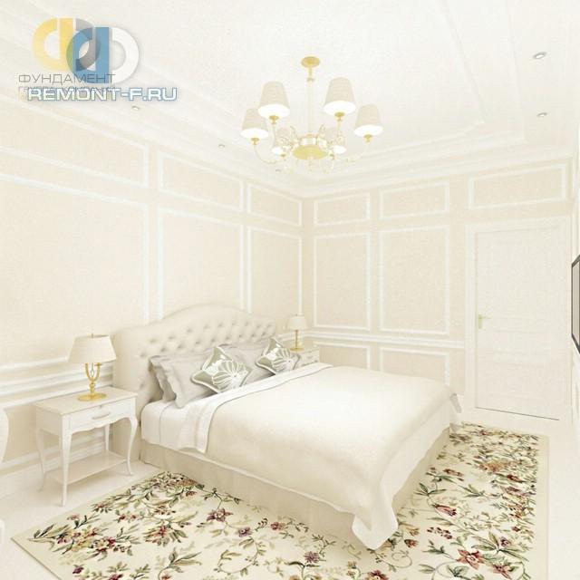 Дизайн светлой спальни в классическом стиле с нарядным ковром