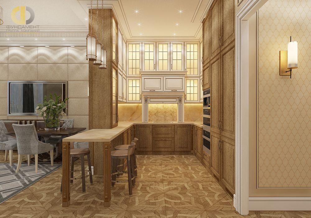 На фото: Интерьер кухни в квартире в стиле неоклассика и ар-деко