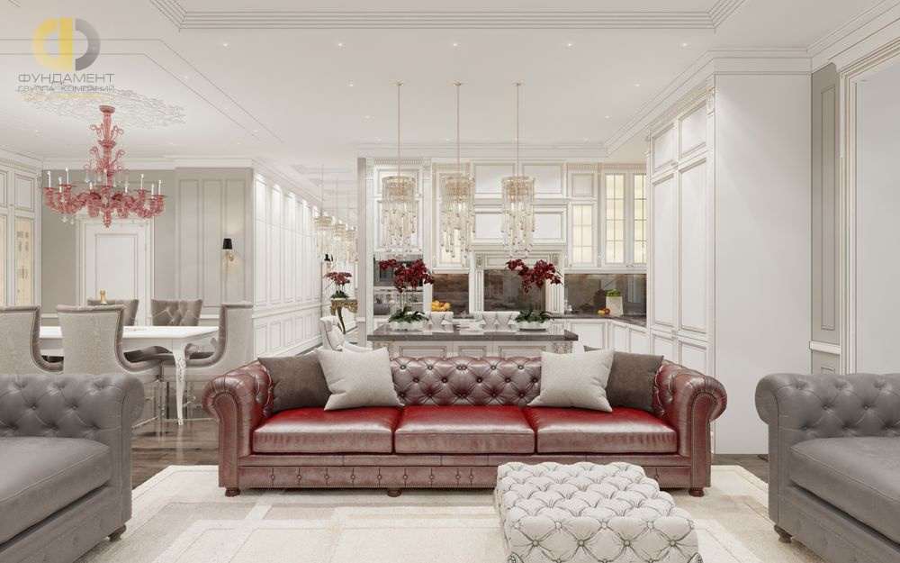 На фото: Интерьер гостиной в квартире в классическом стиле