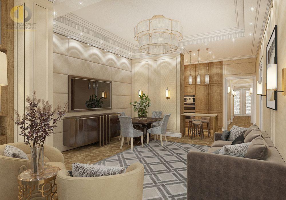 На фото: Интерьер гостиной в квартире стиле неоклассика и ар-деко