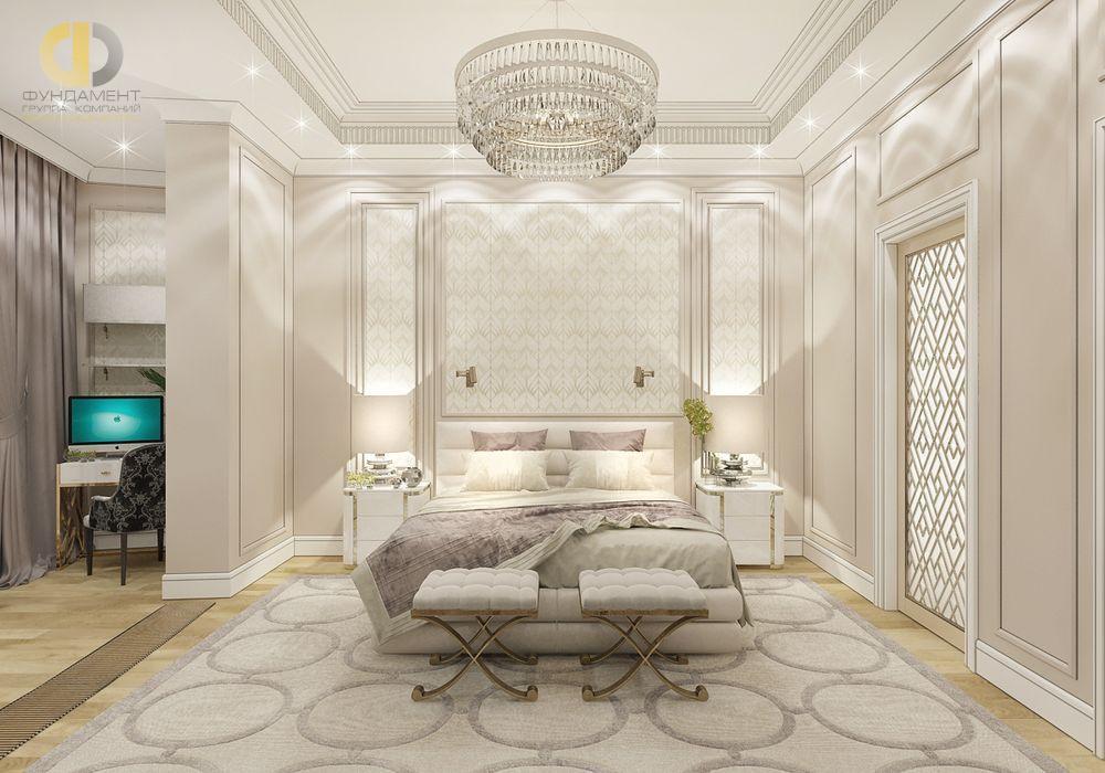 На фото: Интерьер спальни в квартире в стиле неоклассика и ар-деко